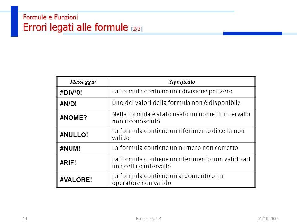 Formule e Funzioni Riferimenti di cella e intervallo [1/2]